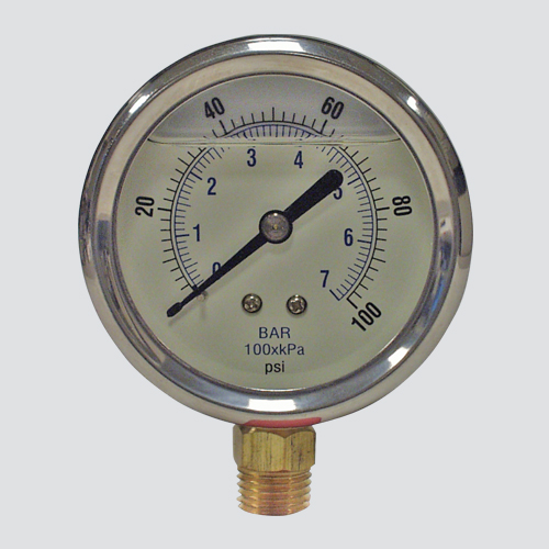 "2-1/2"" 1000 PSI Glycerine Filled Pressure Gauge — 1/4"" Male Pipe Thread Lower Mount"
