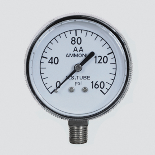 "2-1/2"" 150 PSI Anhydrous Ammonia Pressure Gauge — 1/4"" Male Pipe Thread Lower Mount"