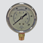"2-1/2"" 400 PSI Glycerine Filled Pressure Gauge — 1/4"" Male Pipe Thread Lower Mount"